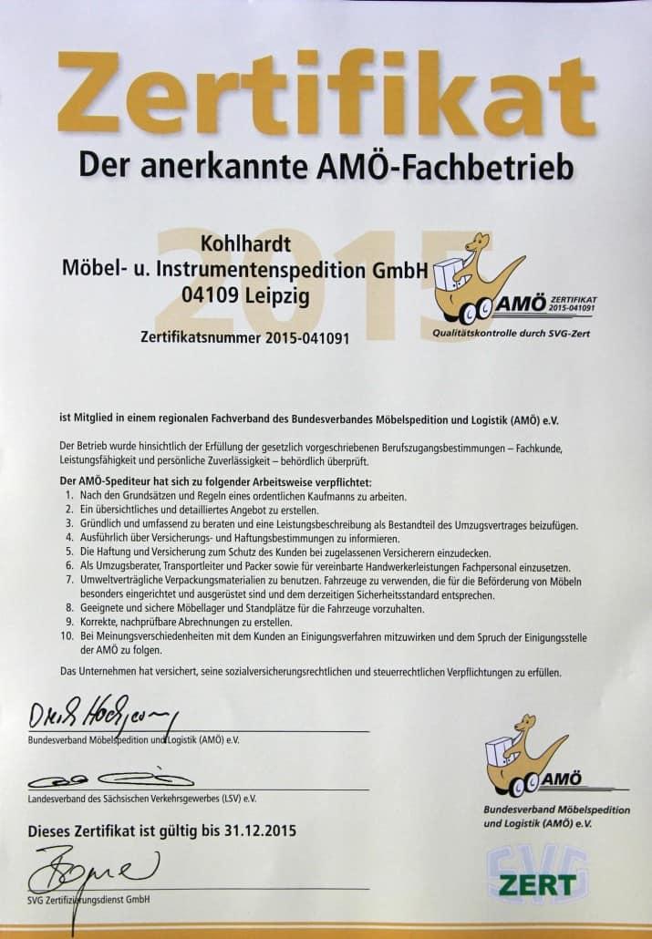 AMÖ Zertifikat Spedition Kohlhardt