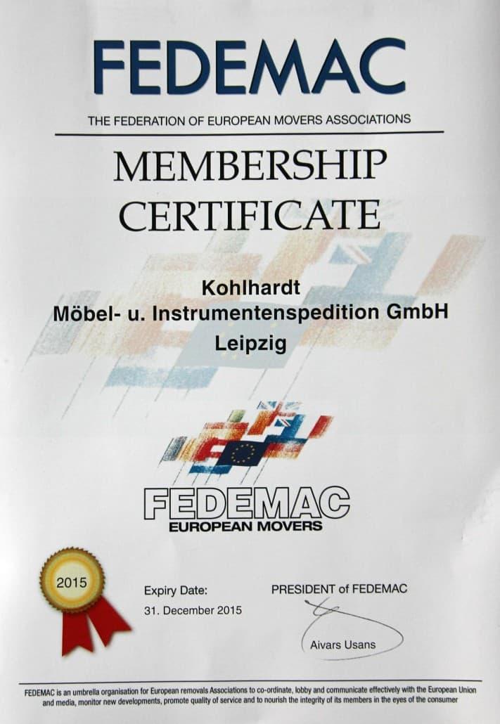 FEDEMAC Zertifikat Kohlhardt